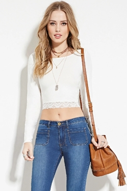Forever 21 - Lace Panel Crop Top
