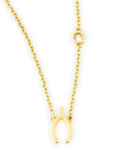 SHY by SE  - Wishbone Pendant Bezel Diamond Necklace