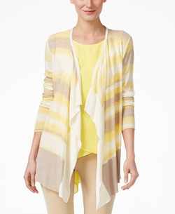 One A  - Space-Dyed Striped Cardigan Sweater