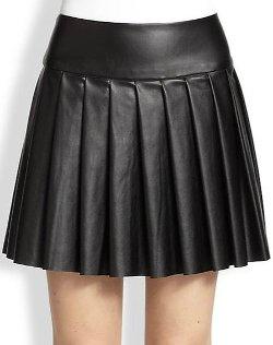 Ella Moss  - Raquel Pleated Faux Leather Skirt