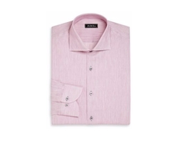 Saks Fifth Avenue Collection  - Regular-Fit Cotton & Linen Pinstriped Dress Shirt