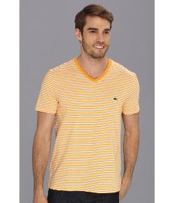 Lacoste  - Short Sleeve Heritage Stripe V-Neck Jersey T-Shirt