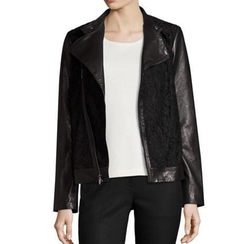 Neiman Marcus - Lace-Panel Leather Moto Jacket