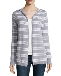 Minnie Rose - Hooded Striped Cardigan
