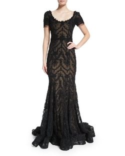 Marchesa - Embroidered-Ribbon Lace Gown