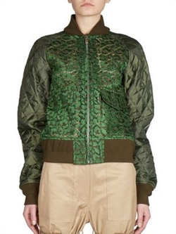 Sacai - Leopard Lace Front Bomber Jacket