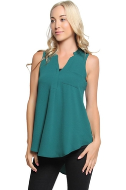 TheMogan  - V-Neck Sleeveless Hi-Low Chiffon Blouse Top