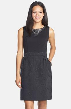 Ellen Tracy - Embellished Neck Ponte & Jacquard Sheath Dress