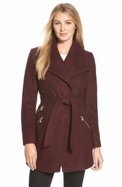 Guess - Belted Bouclé Wrap Coat