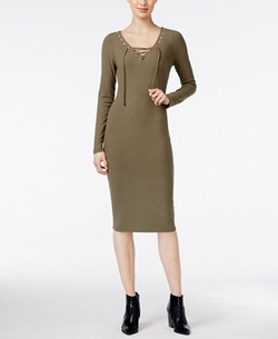 Bar III - Lace-Up Bodycon Sheath Dress
