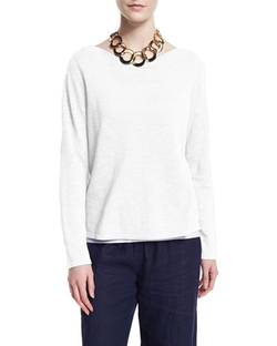Eileen Fisher - Long-Sleeve Organic Slub Top