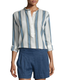 Vince  - Multi-Striped Silky Henley Shirt