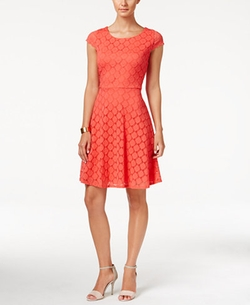 Ronni Nicole - Cap-Sleeve Lace Fit & Flare Dress