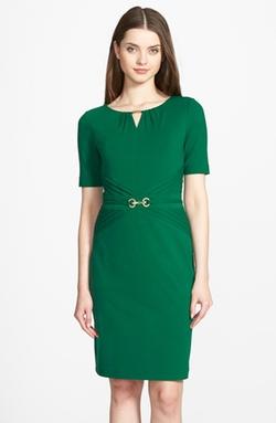 Ellen Tracy  - Embellished Pleated Jersey Sheath Dress
