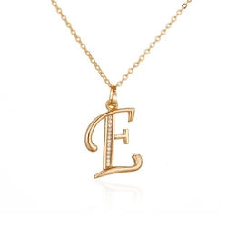 Ipink - Letter E Chain Pendant Necklace