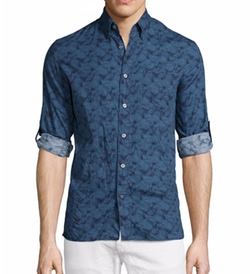 John Varvatos Star USA - Slim-Fit Printed Roll-Tab Sport Shirt