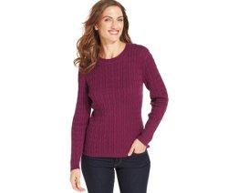 Karen Scott  - Long-Sleeve Crewneck Cable-Knit Sweater