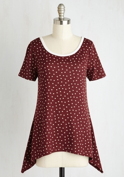 ModCloth - By And Lodge Top In Burgundy Dots