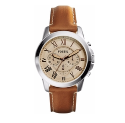Fossil - Chronograph Grant Leather Strap Watch