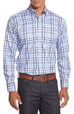 David Donahue - Regular Fit Plaid Sport Shirt