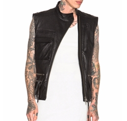 Haider Ackermann  - Crunched Leather Military Waistcoat