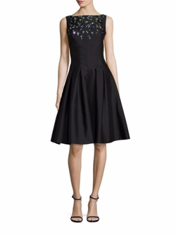 Lela Rose  - Embroidered Wool & Silk Dress