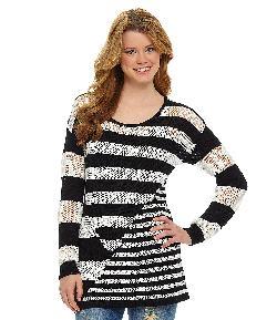 GB  - Geometric-Stripe Knit Sweater