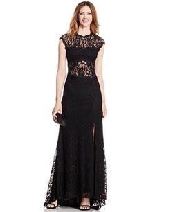 Xscape - Open-Back Cap-Sleeve Lace Gown