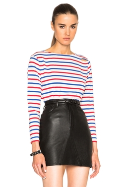 Saint Laurent  - Distressed Stripe Tee