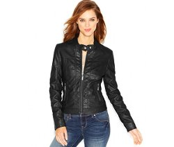 Jou Jou  - Faux-Leather Moto Jacket
