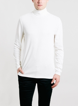 Topman - Off White Jersey Turtle Neck Sweater