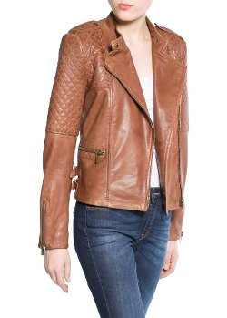 Mango - Quilted Panel Leather Jacket