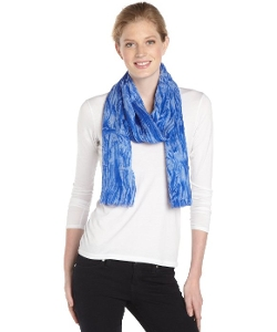 Calvin Klein  - Sapphire And White Distressed Printed Scarf