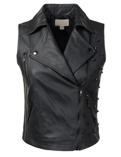 Urbancleo - Studded Faux Leather Biker Vest