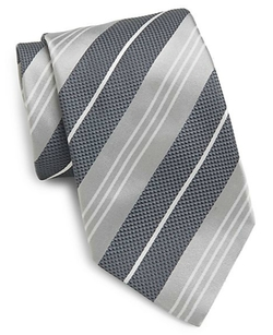 Saks Fifth Avenue  - Textured Stripe Silk Tie