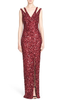 St. John Collection  - Mixed Sequin Tulle Gown