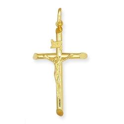 Allurez  - Beveled Crucifix Cross Pendant Necklace