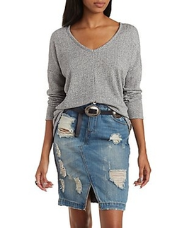 Charlotte Russe - Ribbed & Marled Dropped Shoulder Pullover