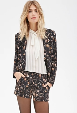 Forever 21 - Floral And Bird Print Blazer