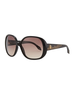 Roberto Cavalli - Shiny Black Round Sunglasses