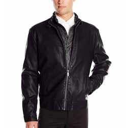 Kenneth Cole - Faux-Leather Stand Collar Jacket