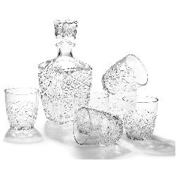 Bormioli Rocco  - Liquor Set - Cut Glass Decanter & 6 Shot Glasses