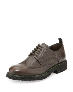Bruno Magli  - Salone Pebbled Leather Lace-Up Wingtip Shoes
