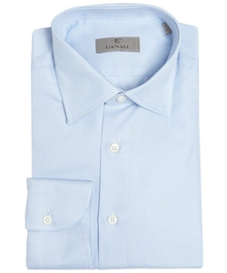 Canali  - Chainlink Pattern Cotton Spread Collar Dress Shirt