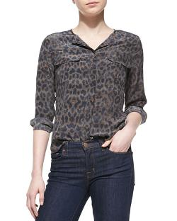 Equipment   - Lynn Silk Printed Long-Sleeve Blouse