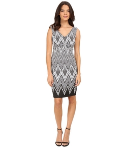 Calvin Klein - V-Neck Printed Sheath Dress