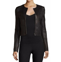 Elizabeth and James - Helen Fitted Cropped Leather Jacket