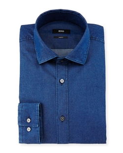 Boss Hugo Boss - Isaak Slim-Fit Denim Dress Shirt