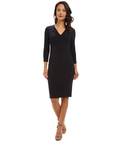 Donna Morgan - Three-Quarter Sleeve V-Neck Dress