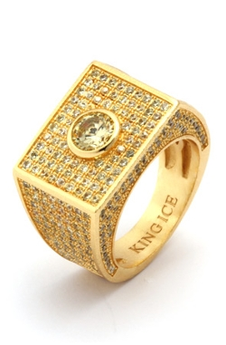 King Ice - Gold Center CZ Ring